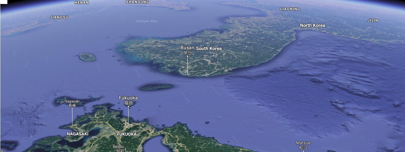 日本側から対島海峡を臨む