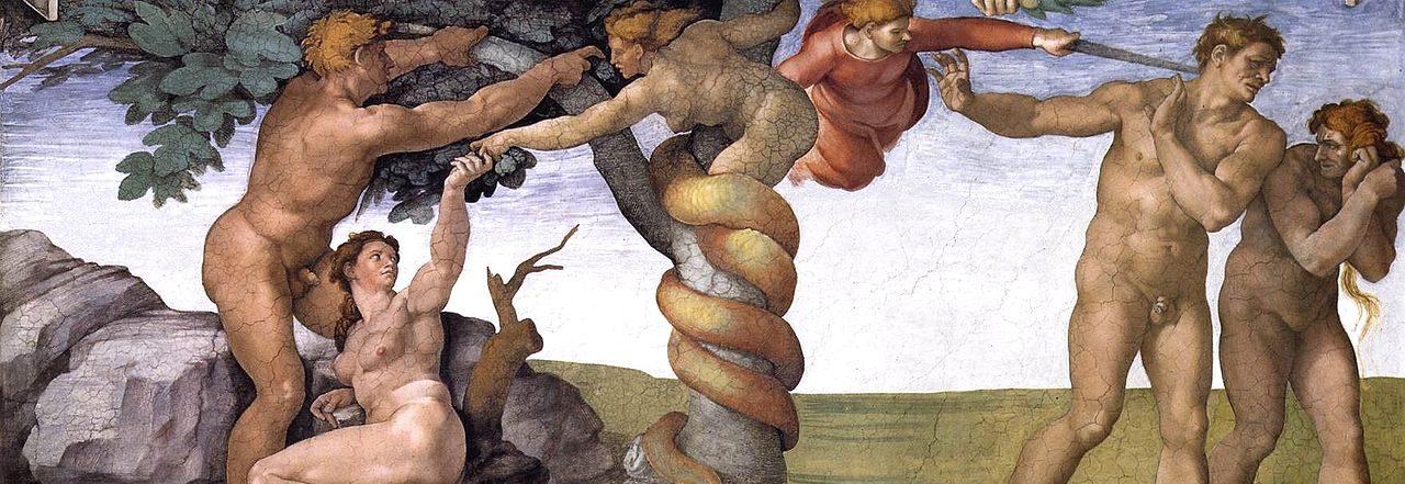 アダムとエバの原罪と楽園追放 システィーナ礼拝堂天井画
