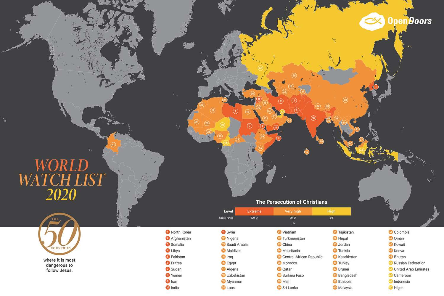 50 countries that are dangerous to follow Jesus